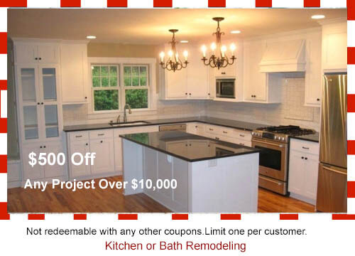 Get 10% off any kitchen remodeling, bath remodeling, flooring, kitchen cabinets or kitchen countertops